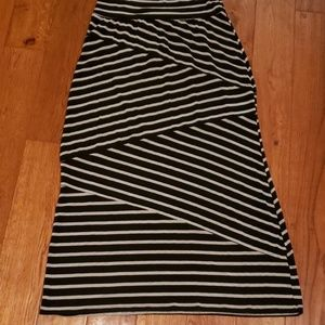 AGB black and grey striped maxi skirt